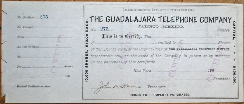 Guadalajara Telephone Co. - Jalisco, Mexico 1880 Stock Certificate