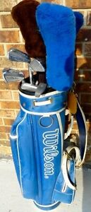 SPALDING & WILSON GOLF CLUBS + WILSON GOLF BAG + GOLF BALLS