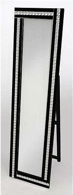 Cheval Acryl Kristall Glas Design Abgeschrägte Kante Stehend Spiegel 40x150cm - Schwarz Cheval Spiegel