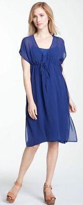 Georgette Slip (Eileen Fisher Georgette Silk Slip Dress With Sheer Overlay Sapphire Blue Sz S)