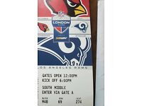 Arizona Cardinals vs L.A. Rams Ticket FACE VALUE £70.00 Section M48