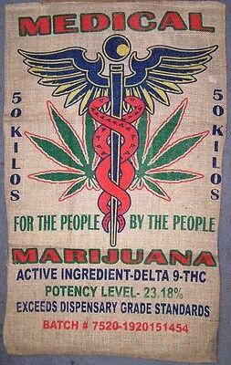 Купить MEDICAL POT LEAF MARIJUANA  BURLAP BAG  pot leaf hippie sack
