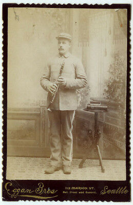 VINTAGE BANDSMAN MUSICIAN CLARINET Clarinetist Holds His Instrument Cabinet Card