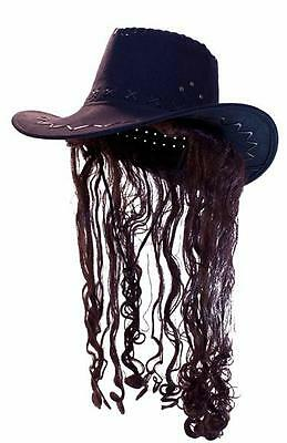 COWBOY HAT WITH FAKE DARK BROWN HAIR crazy joke funny unisex hats curly hair new - Funny Hats With Hair