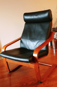 Poang IKEA Armchair with Leather Cushions