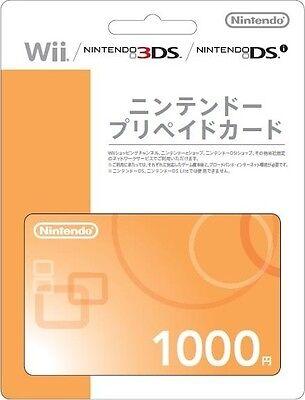 Nintendo Prepaid Card 1000 yen wii 3DS dsi WiiU switch japan japanese