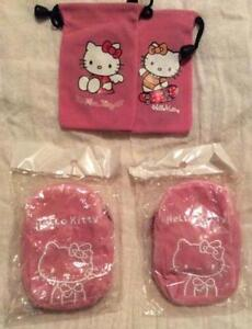 Pink Hello Kitty bags.4 drawstring, 2 zippered wrist/neck bags.