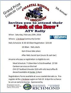 LUCK OF THE DRAW ATV RALLY  NEW DATE FEB20th