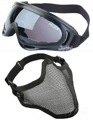 Protection Steel Mesh Face Mask with X400 UV Goggles Airsoft Paintball Set on Rummage