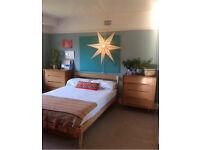 Habitat TATSUMA wooden double bed frame. Ash