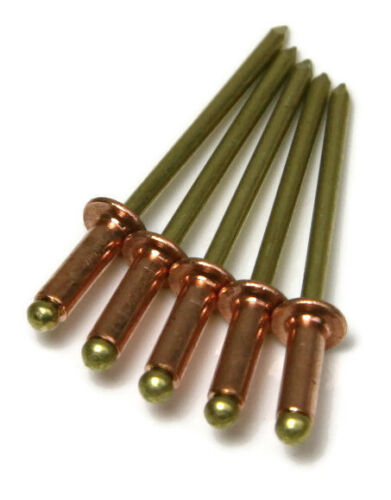 Copper Pop Rivets 1/8 Diameter #4 Copper Blind Rivets with Brass Mandrel