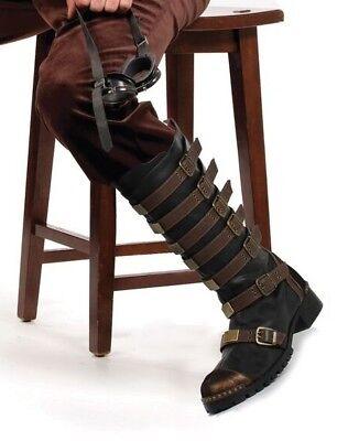 Brown Black Mens Steampunk Western Cowboy Gold Miner Wild West Boots size 11 12