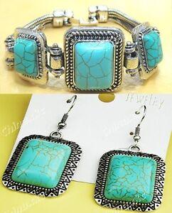 Turquoise Tibet silver Bracelet&Earring Set