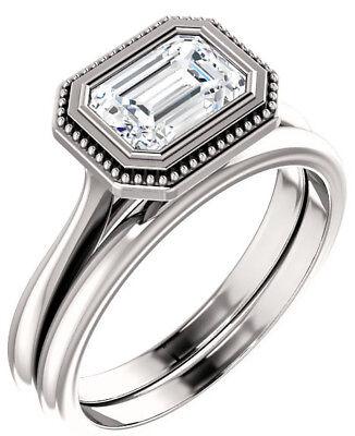 1.02 carat GIA cert Emerald cut Diamond Solitaire Engagement 14k Gold Ring J SI2
