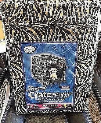 Pet Dreams Zebra Designer 2 pc Dog Crate Padding Set: Bed + Crate Walls Size L