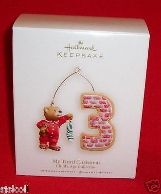 Hallmark 2008 MY THIRD Christmas Ornament 3rd Child's Age Boy or Girl  Childs Third Christmas Ornament
