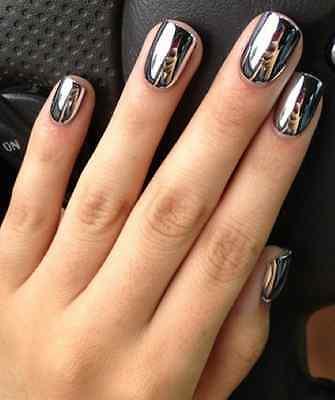 2 Sets (24 pieces) Silver Chrome Press On Nails Artificial Fake Metallic Polish
