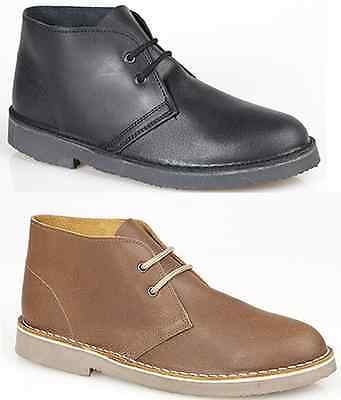 Mens Womens Leather Desert Boots Lace up Stylish Ankle Smart Shoes Black Brown