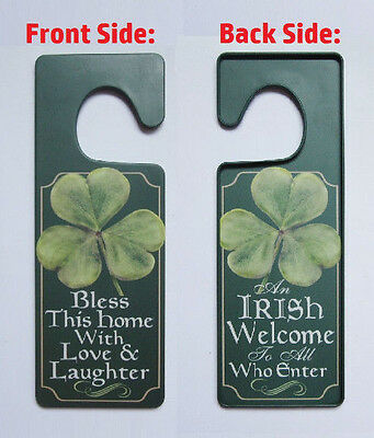 Welcome Bless This Home Tin Door Knob Hanger Irish Blessing Shamrock decor - Shamrock Door