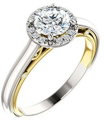 1 carat Round Diamond Vintage Wedding 14k Two Tone Gold Solitaire Ring GIA E VS1
