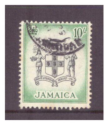 Jamaica QEII 1956 10/- black & blue green Arms of Jamaica used SG173