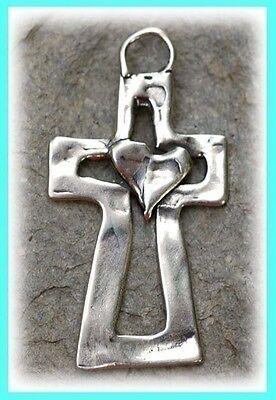Artisan Sterling Silver HEART on Open CROSS Pendant