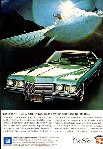 1972 Cadillac 2-Door Snow Skier PRINT AD