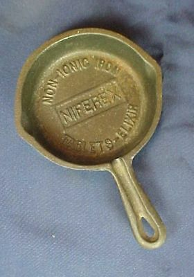 Vintage Miniature Advertising Cast Iron Skillet Niferex Non-Ionic Tablets Elixir