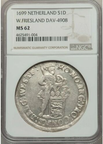 Netherlands W Friesland 1699 Silver Ducat NGC MS62 Scarce !