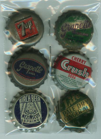 6 Cork Bk Soda Bottle Caps- Cherry Crush Grapette 7up Birch Beer Ginger Ale