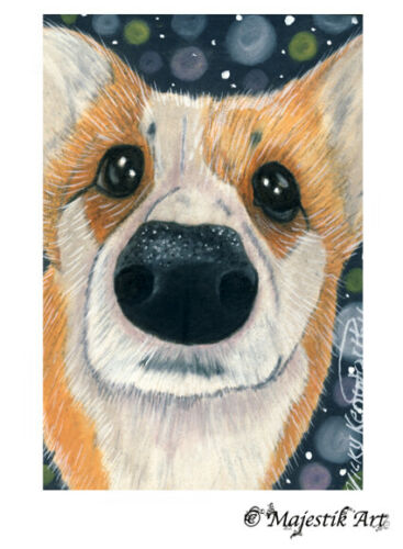 """Archival ACEO Print Corgi Puppy Pet Animal Dog """"Well Hello"""" By V Kenworthy"""