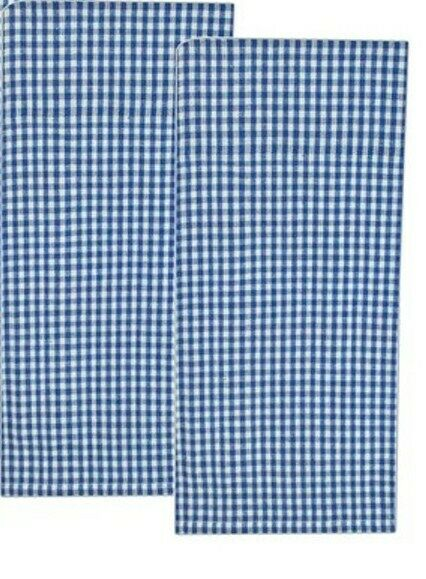 set of 2 blue and white gingham