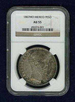 MEXICO EMPIRE OF MAXIMILIAN 1867-Mo 1 PESO SILVER COIN, CERTIFIED NGC AU-55