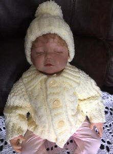Aran Baby Cardigan and Hat Pattern. VR51