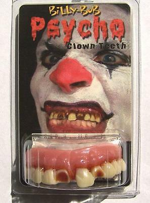 PSYCHO CLOWN TEETH  fake goofy joke bad false hill  billy bob costume NEW GAG - Bad Clown Costume