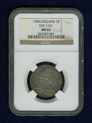 Click now to see the BUY IT NOW Price! G.B./ENGLAND WILLIAM III 1700 1 SHILLING COIN-UNCIRCULATED-NGC CERTIFIED MS63