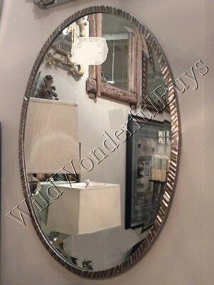 Minimalist Oval Wall Mirror Polished Nickel 28H Metal Bevele