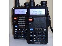 BaoFeng UV-5R Dual Band Two Way Radio (Black) x2 (NEW)