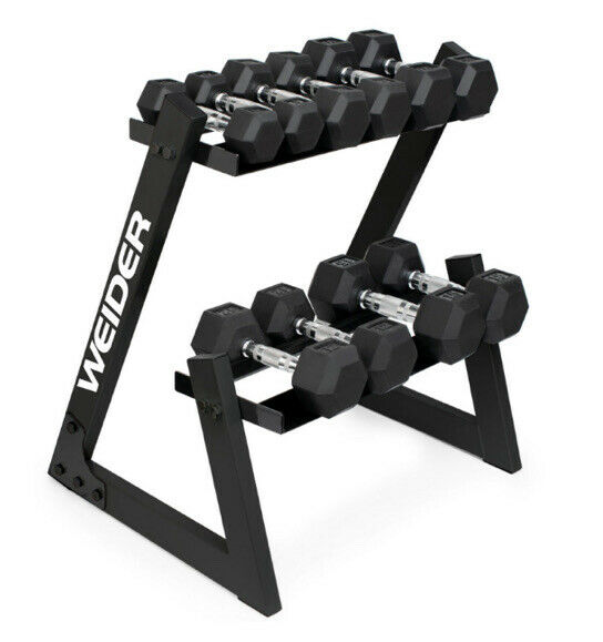 Weider Rubber Hex Dumbbell Set and Rack - 100 Lbs Set NEW