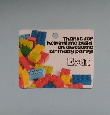 12 Personalized Legos Lego blocks birthday party favor tags.](Party Favor Tags)