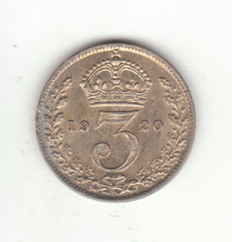 1920 Great Britain King George V Silver Threepence.  AU.