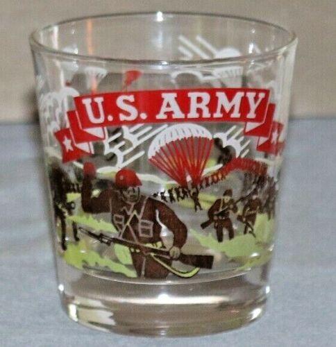 Vintage U.S. Army Airborne WW2 Theme Barware Drinking Glass Military Small Juice