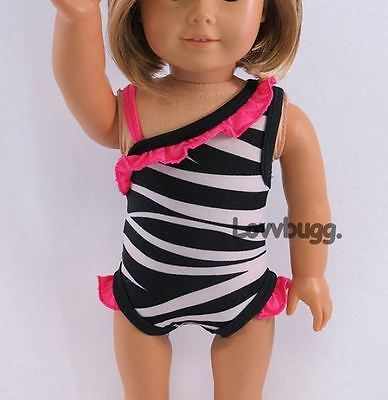 7a89a538e3c51 Zebra Swim Suit for American Girl 18 inch or Bitty Baby 15 inch Doll ...