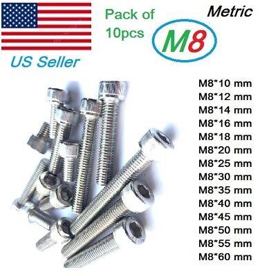 M8x1.25 Stainless Steel Full Thread Allen Hex Socket Cap Cylindrical Bolts 10pcs