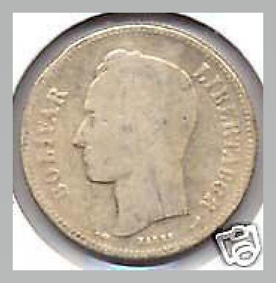 1911 Venezuela 2 Bolivares Silver Coin