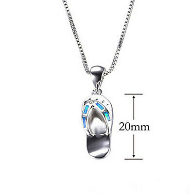 Fashion woman 925 Silver flip flop Blue Fire Opal Charm Pendant Necklace Chain -