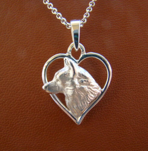Sterling Silver Siberian Husky Head Study On A Heart Frame Pendant