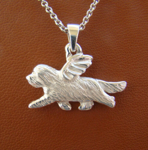 Sterling Silver Bearded Collie Angel Pendant