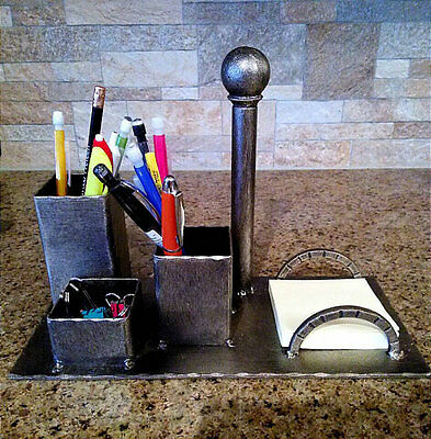 Desktop Organizer, Iron Business card holder, pencil cup, Dallas, Texas, office Desktop Organizer Pencil Cup