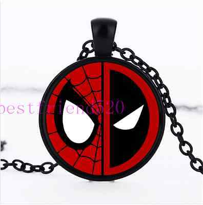 SpiderMan And Deadpool Photo Cabochon Glass Black Chain Pendant Necklace